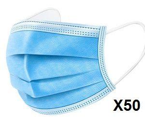 מסיכה כירורגית רפואית תלת שכבתית להגנה מירבית המארז כולל 50 יחידות