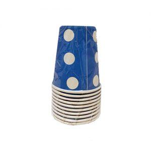 כוסות נייר 10 יח' 9oz כחול נקודות