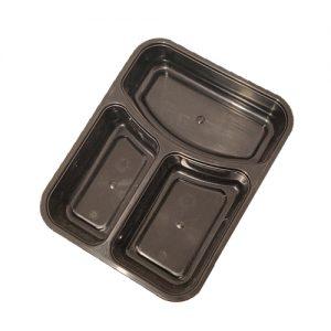 מיכלי איחסון מחולקים פלסטיק שחור עם מכסים שלישייה