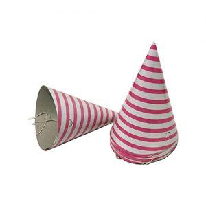 כובעים למסיבה ורוד פסים 10 יח'