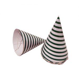 כובעים למסיבה ירוק פסים 10 יח'