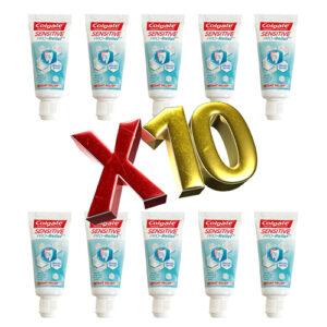 10 יח' קולגייט משחת שיניים סנסיטיב – אריזת נסיעות 25 גרם