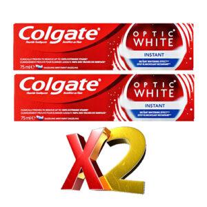 """2 יח' משחת שיניים קולגייט אופטיק וויט 75 מ""""ל כחול"""